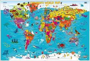 Harta lumii pentru copii. Collins Children's World Map