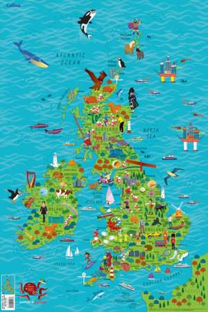 Children's Wall Map of the United Kingdom and Ireland de  Collins Maps