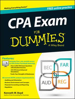 CPA Exam For Dummies with Online Practice de Kenneth W. Boyd