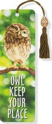 Owl Keep Your Place Beaded Bookmark de Peter Pauper Press
