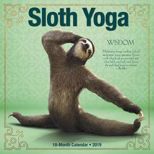 2019 Sloth Yoga Wall Calendar