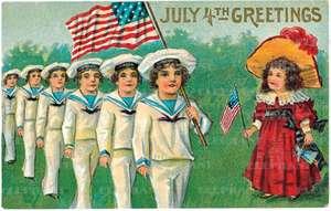 Children W/ USA Flag - Greeting Card de Blue Lantern Publishing
