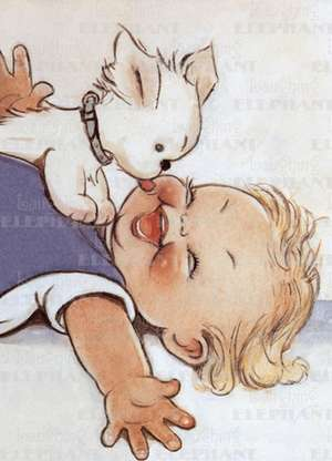 Dog Kissing Baby - Greeting Card de Mabel Lucie Attwell