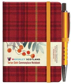 Rowanberry Tartan: Mini Notebook with Pen: 10.5 x 7.5cm: Waverley Genuine Tartan Cloth Commonplace Notebook