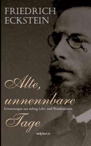 Alte, Unnennbare Tage:  Aus Meinem Leben de Friedrich Eckstein