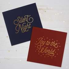 Gold Text 10-Pack Christmas Cards: Joy to the World and Silent Night