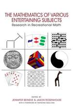 The Mathematics of Various Entertaining Subjects – Research in Recreational Math