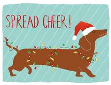 Dachshund Spread Cheer Holiday Embellished Notecards