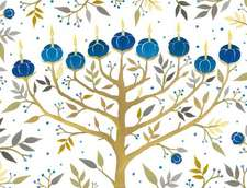 Chanukah Tree of Lights Holiday Embellished Notecards