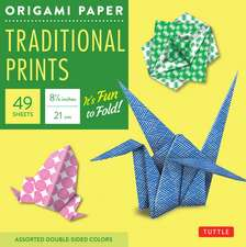 """Origami Paper - Traditional Prints - 8 1/4"""" - 49 Sheets: Tuttle Origami Paper: High-Quality Large Origami Sheets Printed with 6 Different Patterns: Instructions for 6 Projects Included"""