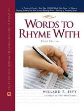 Espy, W:  Words to Rhyme with