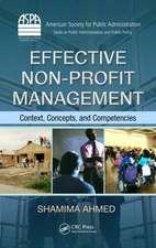 Effective Non-Profit Management:  Context, Concepts, and Competencies