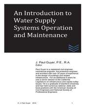 An Introduction to Water Supply Systems Operation and Maintenance
