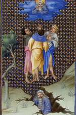 """""""The Sons of Core Thank God for Their Salvation"""" by the Limbourg Brothers"""