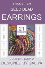 Brick Stitch Seed Bead Earrings. Coloring Book 2