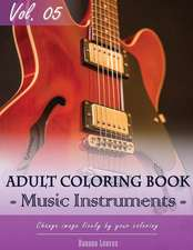 Music Instruments Coloring Book Arts for Stress Relief & Mind Relaxation, Stay Focus Treatment