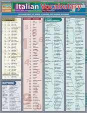 Italian Vocabulary Laminate Reference Chart