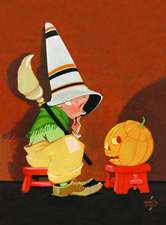 Cute Witch Conversing with Jack-O-Lantern Halloween Greeting Cards [With Envelope]