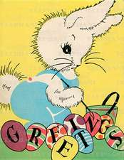 Rabbit W/ Paint Brush - Easter Greeting Card