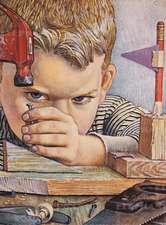 Boy Hammering Nail - Encouragement Greeting Card