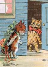 Cat Hiding Bouquet - Romance Greeting Card