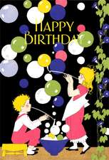 Children Blowing Bubbles Birthday Greeting Cards [With Envelope]