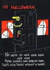Halloween Ghosts Flank Padlocked Door Halloween Greeting Cards [With Envelope]