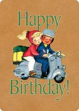 Boy and Girl on Scooter Birthday Card [With Envelope]