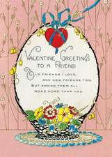 Basket of Flowers Valentine's Day Greeting Card [With Envelope]