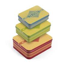 Tesori: Three Nesting Keepsake Tins (Stacking Red, Green and Blue Decorative Tins, for Kitchen, Desktop, Home Storage and Orga