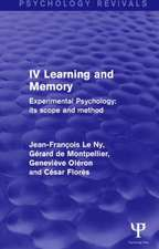 Experimental Psychology Its Scope and Method:  Learning and Memory