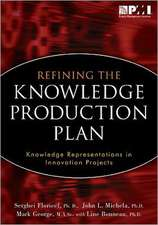 Refining the Knowledge Production Plan:  Knowledge Representations in Innovation Projects
