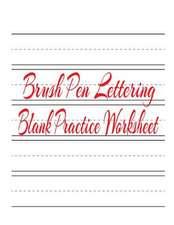 Brush Pen Lettering Blank Practice Worksheet