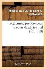 Programme Propose Pour Le Cours de Genie Rural