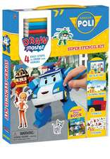 Drawmaster Robocar Poli: Super Stencil Kit: 4 Easy Steps to Draw Your Heroes