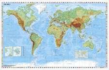 Weltkarte physisch - Wandkarte laminiert