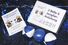 3 Bälle & Jonglier-Anleitung(blau-weiß, blau, blau-weiß)